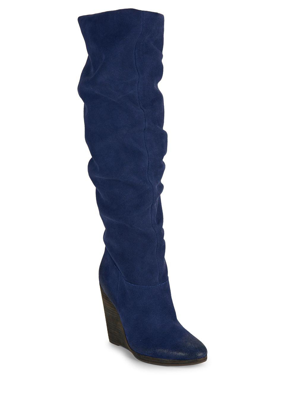 7bc7fe123ebf Charles David Holly Suede Boots in Blue - Lyst