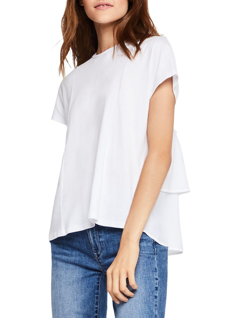 b298ff32d5ee2 Lyst - Bcbgeneration Tiered Ruffle Back Tee in White