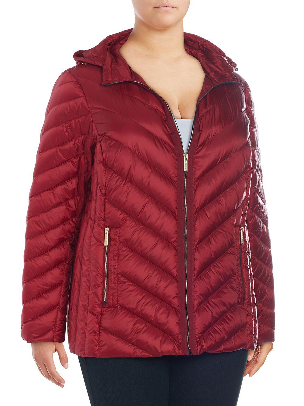 e0e227d01714 Lyst - Michael Michael Kors Plus Packable Down Quilted Jacket in Red