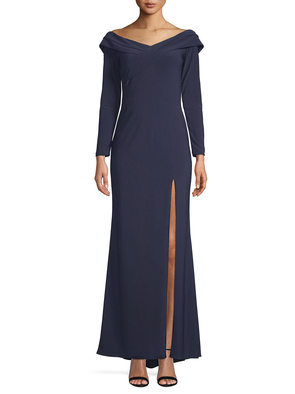 5fc7356d Lyst - Xscape Pleated Off-the-shoulder Gown in Blue