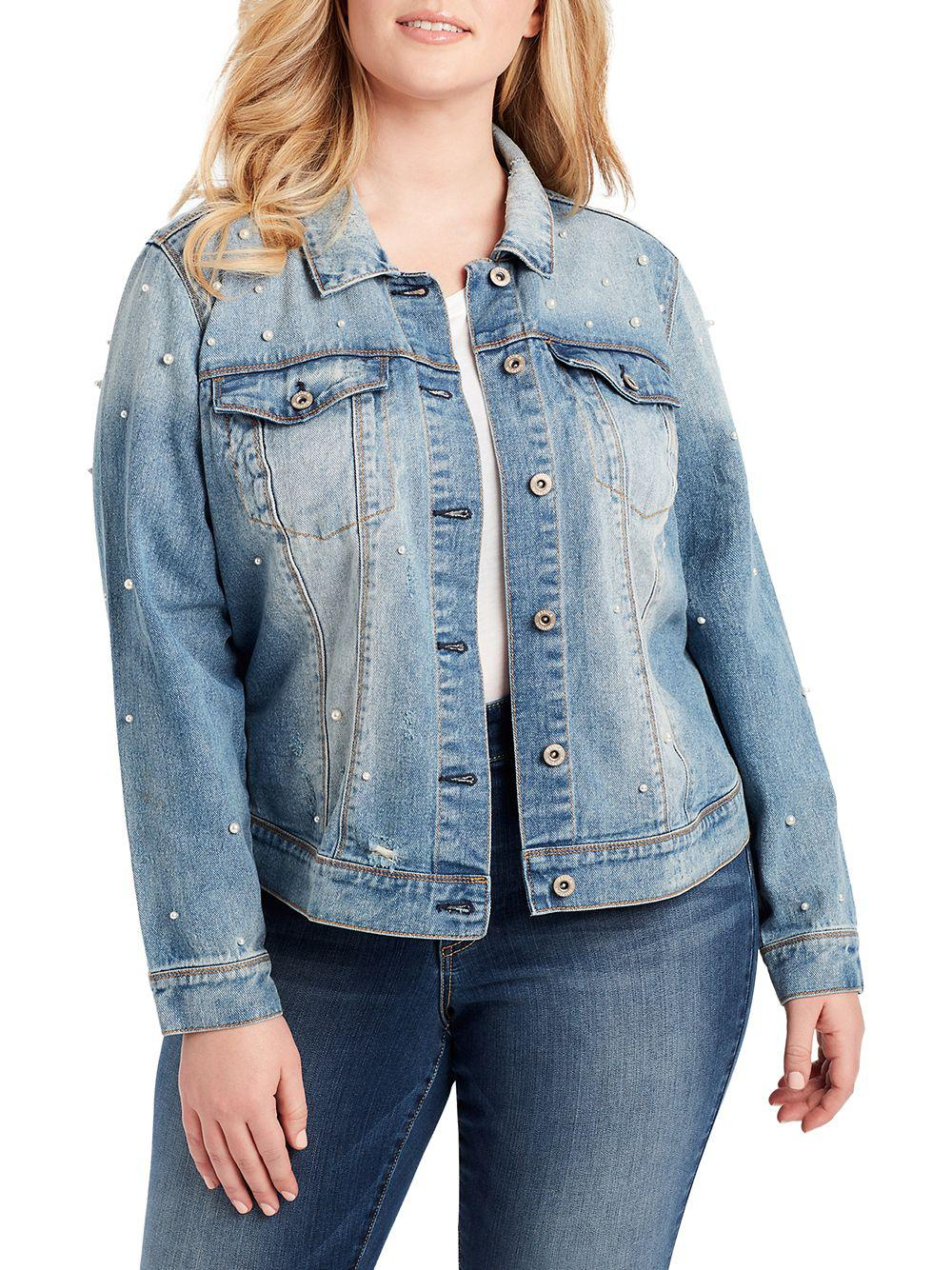 c05136c9fba Lyst - Jessica Simpson Plus Embellished Denim Jacket in Blue - Save ...