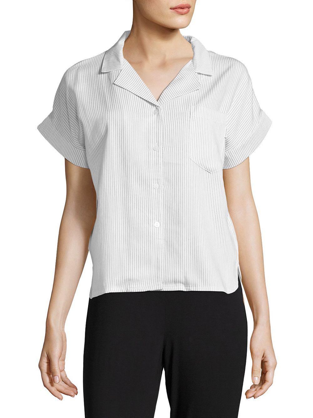 f7417156ce Lyst - Calvin Klein Striped Button-down Pajama Top in White