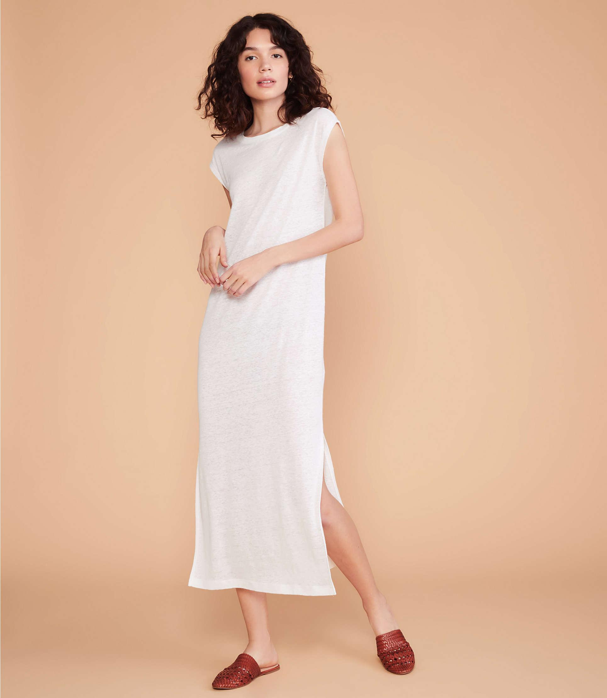 6322b88b3ec8 Lyst - Lou & Grey Linen Midi Tee Dress in White