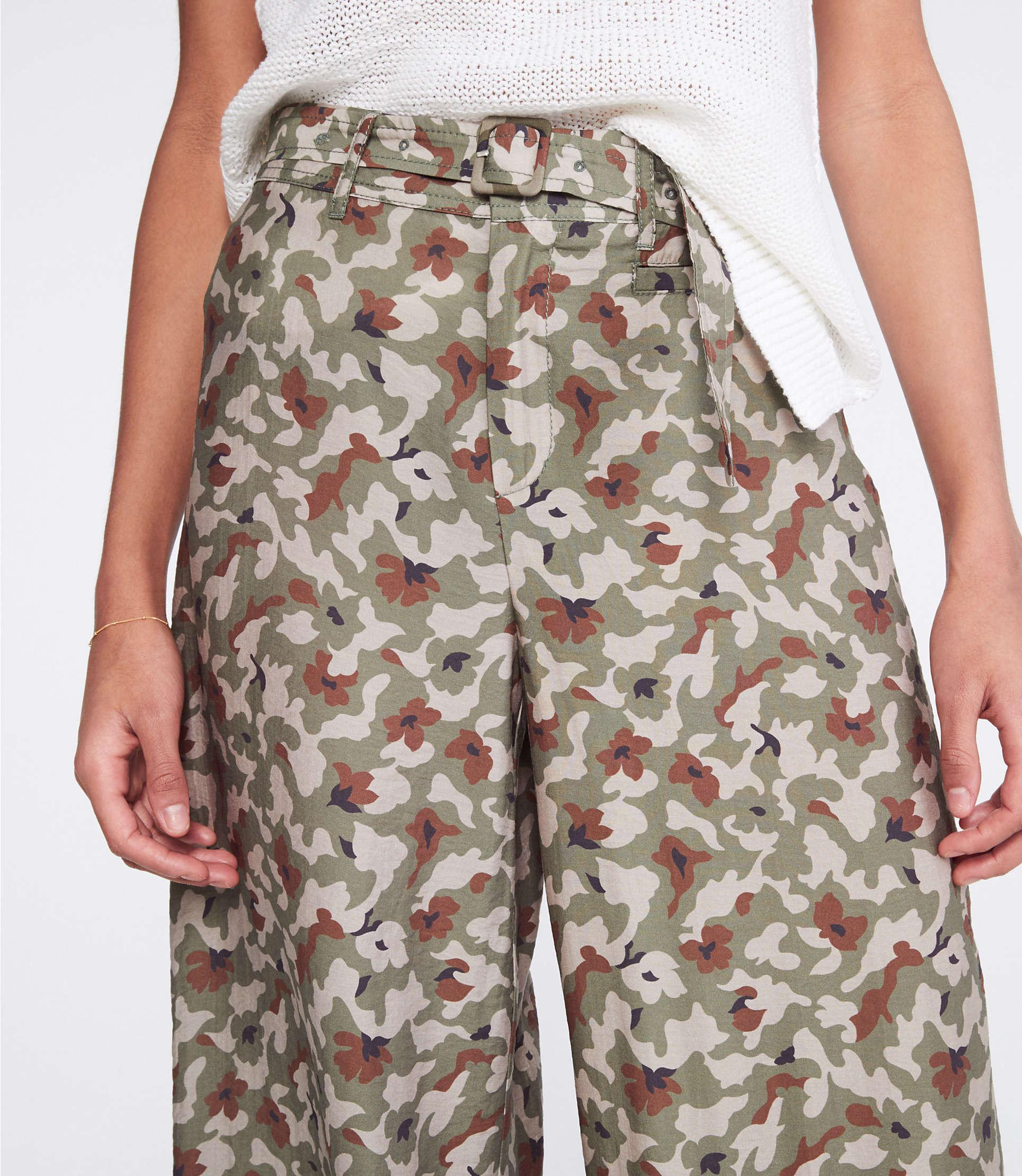 f8b19b94b8 Lou & Grey - Green Camo Belted High Rise Wide Leg Pants - Lyst. View  fullscreen
