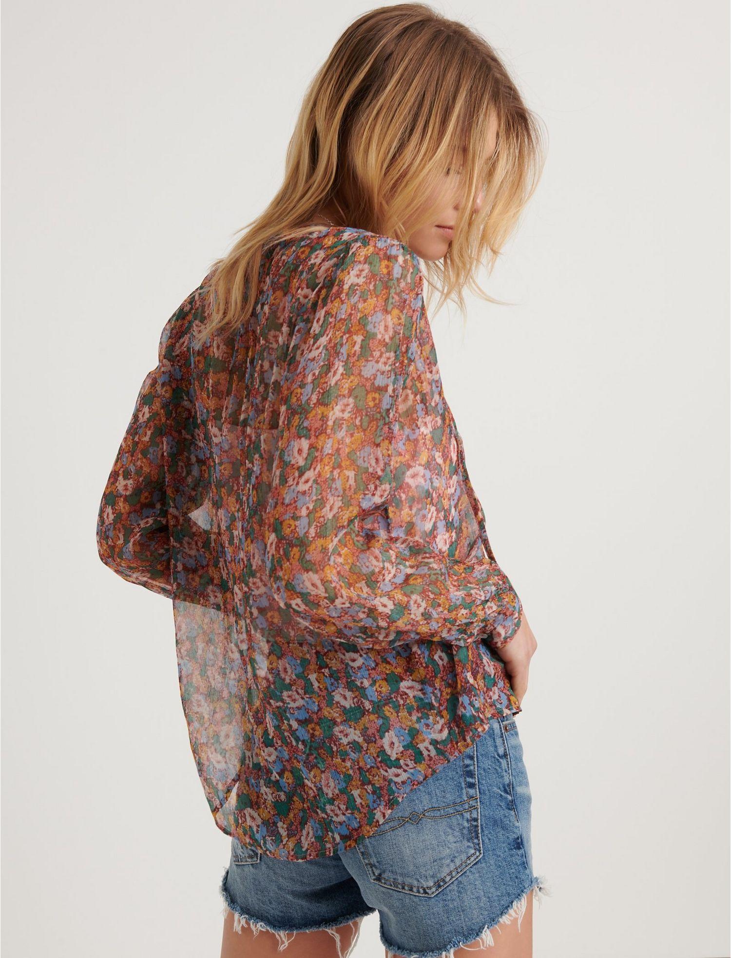 d3dd439e86c36 Lyst - Lucky Brand Ditsy Floral Popover Peasant in Brown