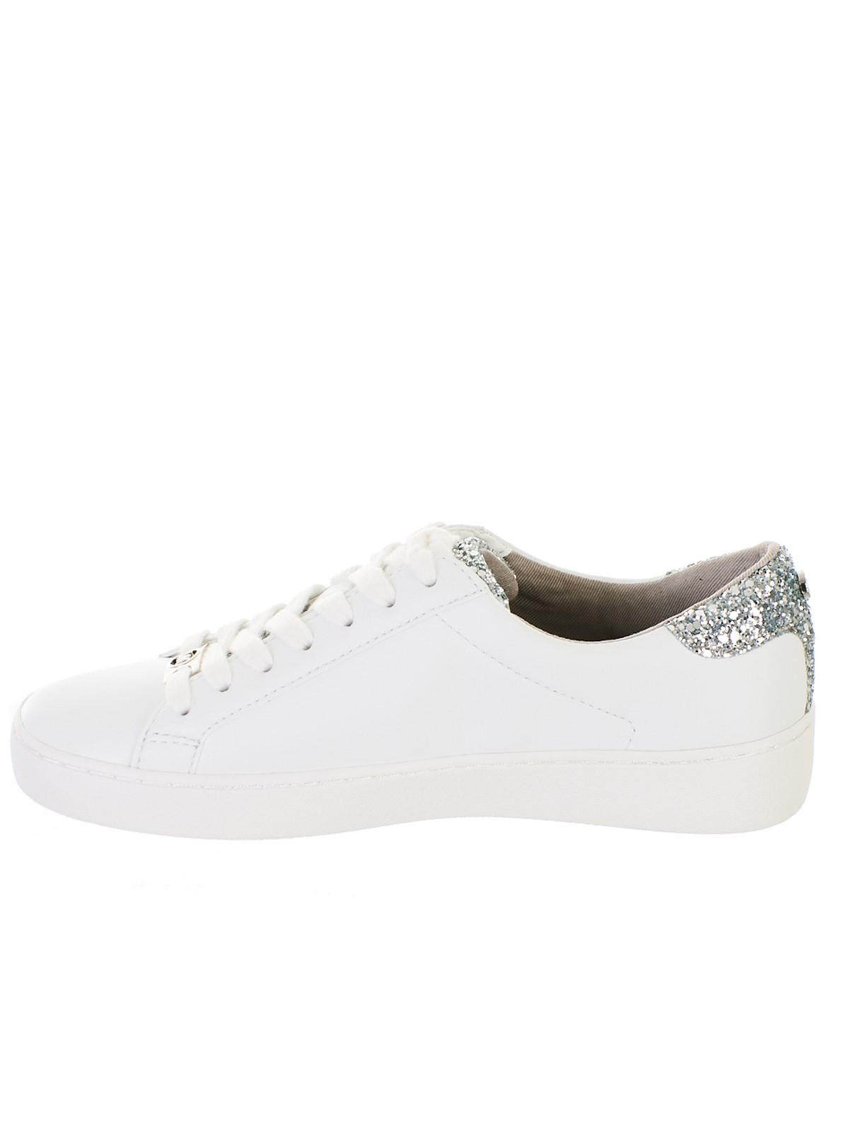 ecdaeab4795 Lyst - Michael Kors White Irving Lace Up Sneakers in White