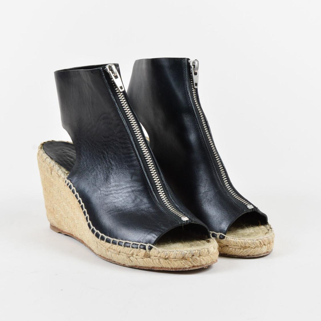 2b62c2061e3 Céline Black Leather Open Toe Zip Up Espadrille Wedges Sz 39 in ...