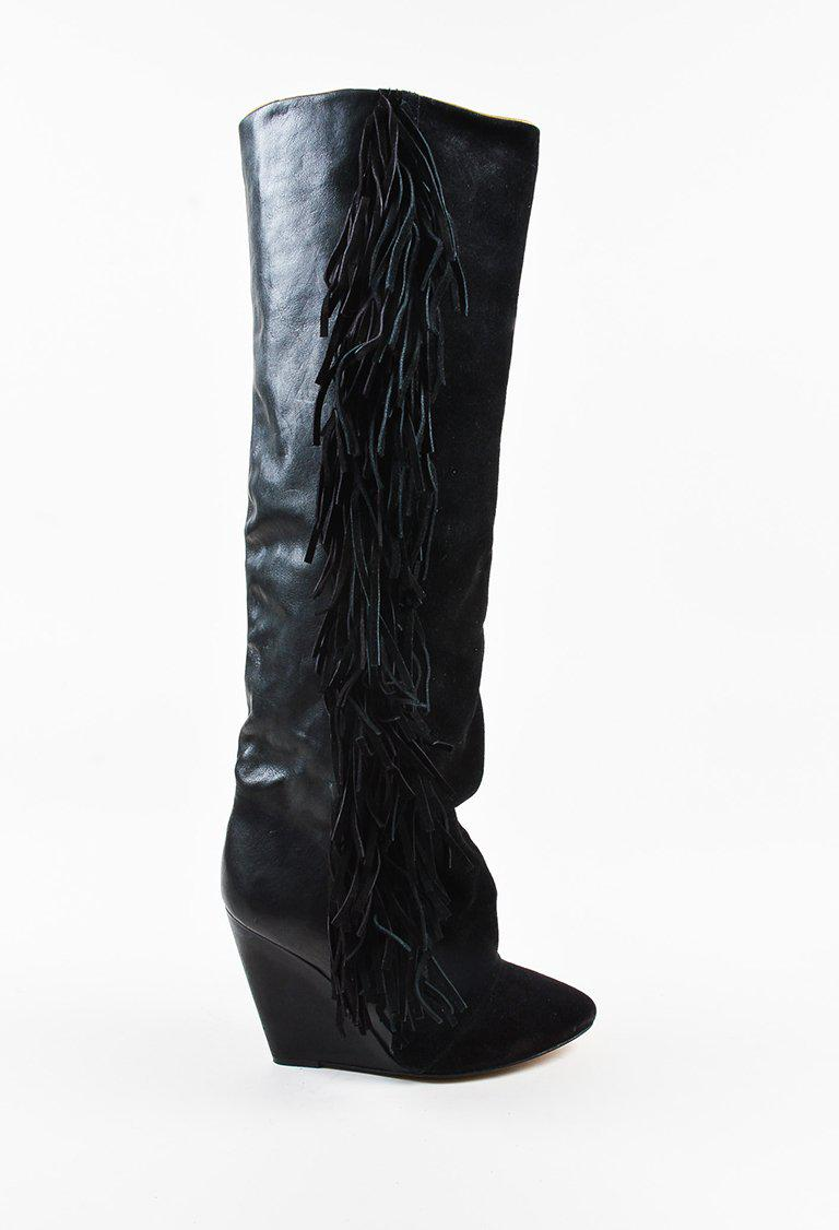 d9d5b25c5cb Lyst - Isabel Marant Black Suede & Leather Fringed Knee High