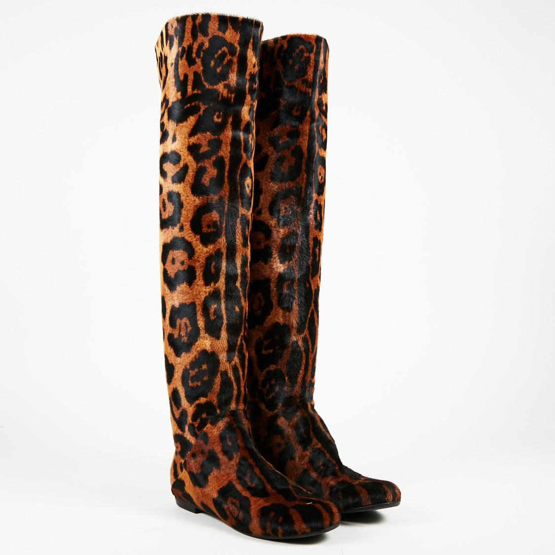 1d09f44af5d14 Giuseppe Zanotti Brown Pony Hair Leopard Print Over The Knee Boots ...