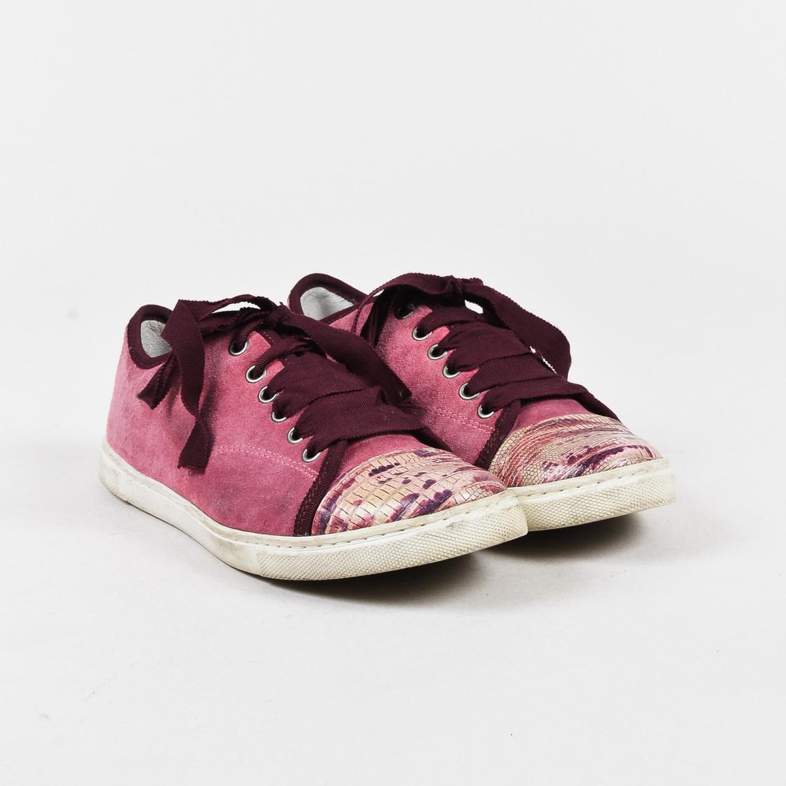 66cfb80785c14b Lyst - Lanvin Pink Purple Suede   Embossed Snake Cap Toe Sneakers in ...