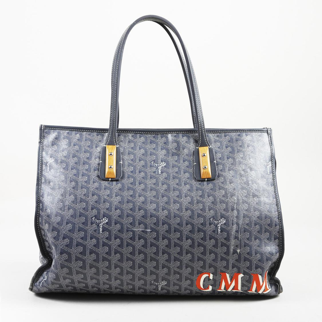 3940a9bd9000 Lyst - Goyard Pre-owned Marquises Blue Cloth Handbags in Blue - Save ...