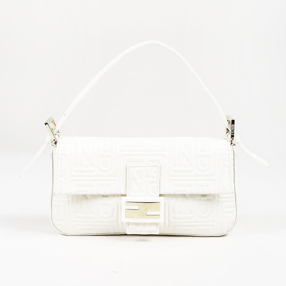 9365d40fe1 Fendi White Nappa Leather Logo Embossed