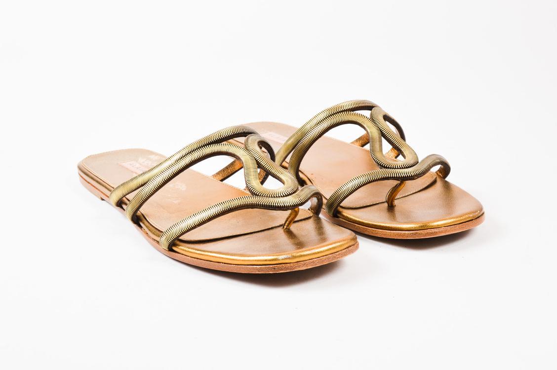 2ed5893fb4ae8 Alaïa Gold Tone Metallic Strappy Cut Out Flat Thong Slide Sandals Sz ...