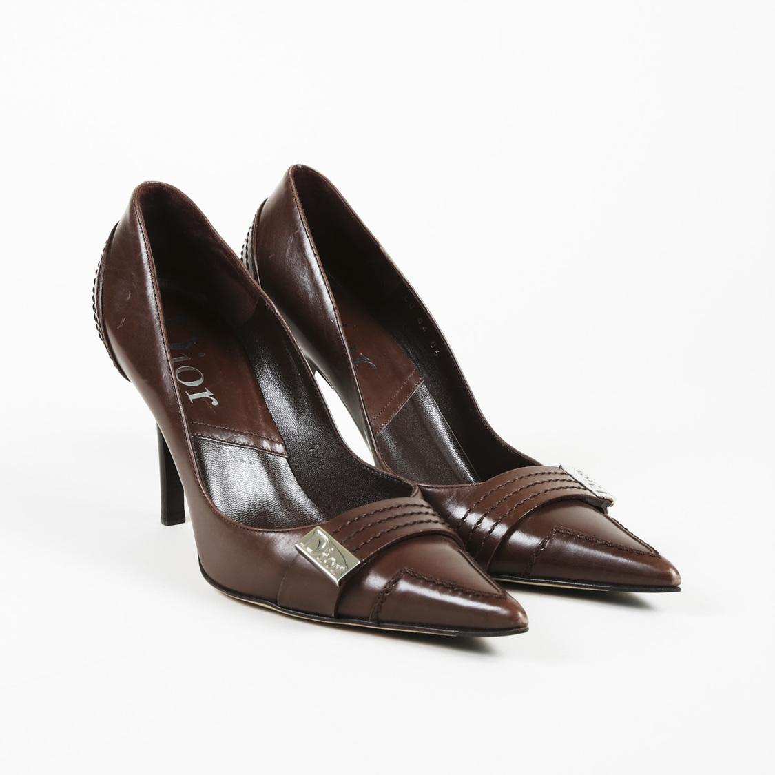 b4adf658c Dior. Women's Brown Dior Leather Pointed Court Shoes