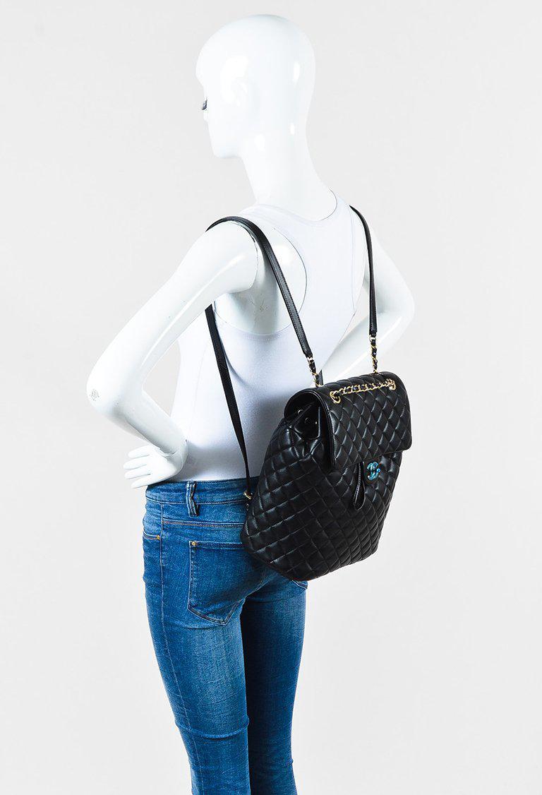 bb3d4afb6427 Chanel 16b Black Quilted Lambskin Leather Medium Urban Spirit ...