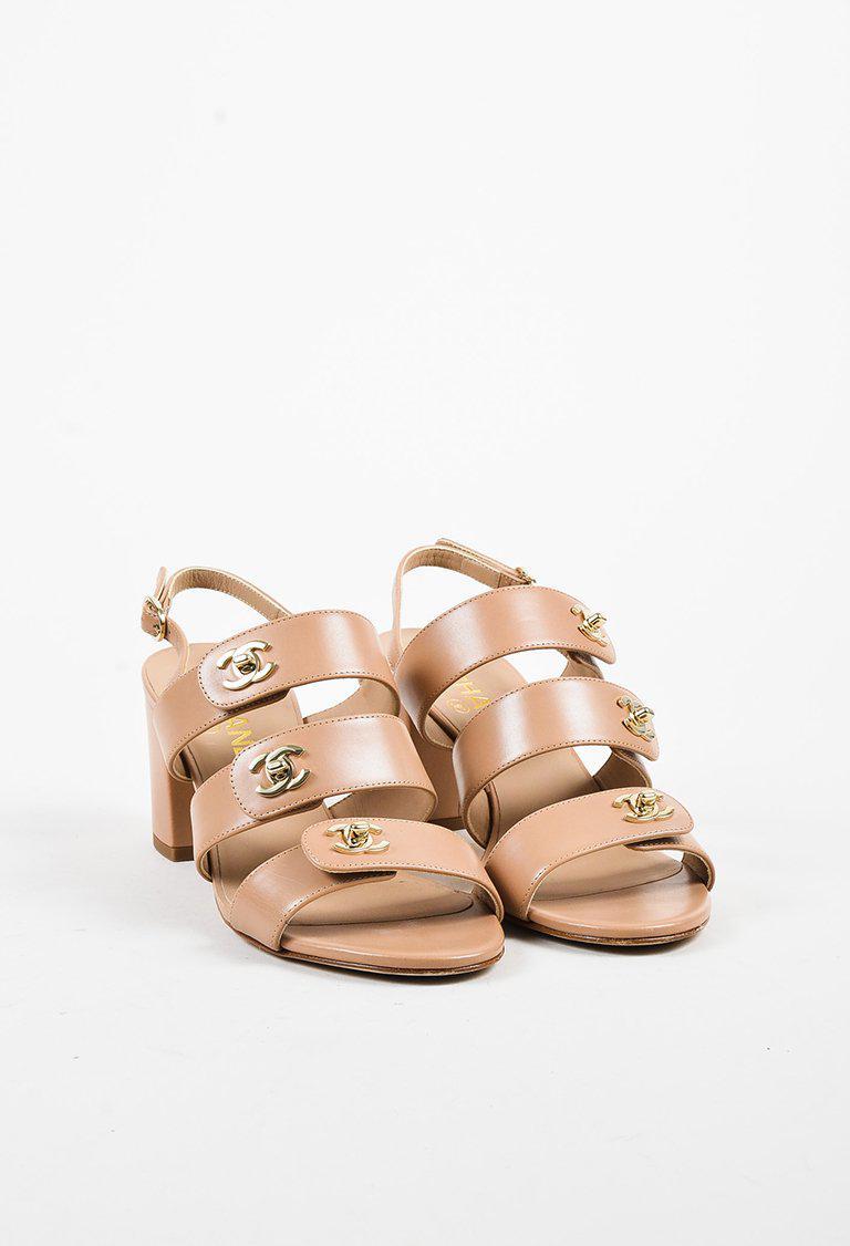 Lyst - Chanel Beige Calfskin  cc  Turnlock Block Heel Slingback ...
