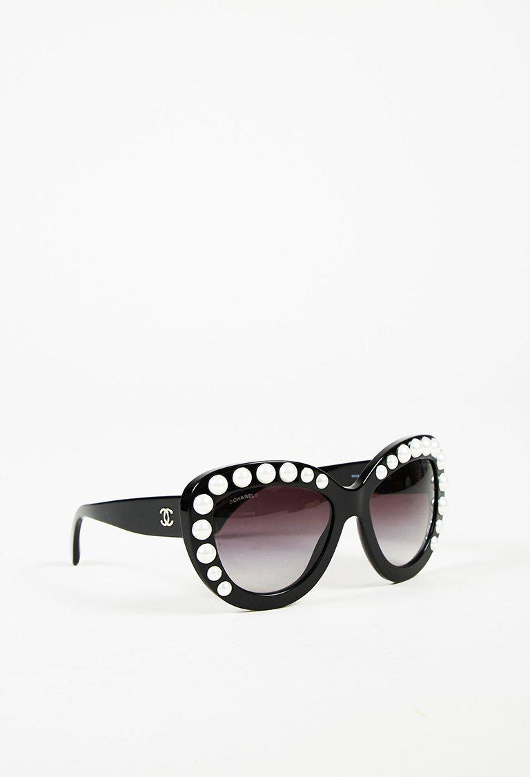 10966554ff Chanel Black   White Faux Pearl Studded Oversize Cat Eye Sunglasses ...