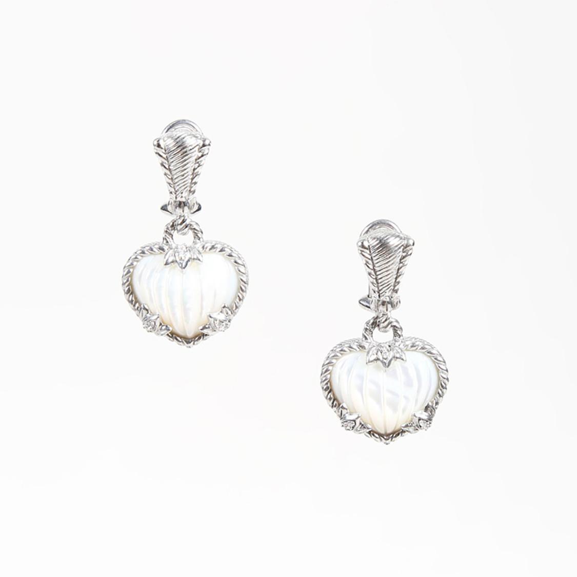 Judith Ripka Women S Metallic Sterling Silver Mother Of Pearl Heart Shaped Earrings