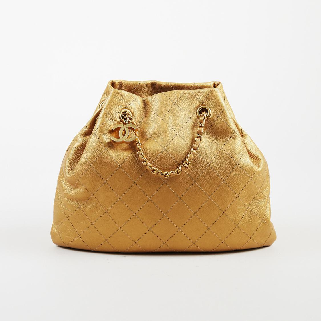 9e7c722e775f Lyst - Chanel Cruise 2016 Metallic Gold Leather Quilted Shoulder Bag ...