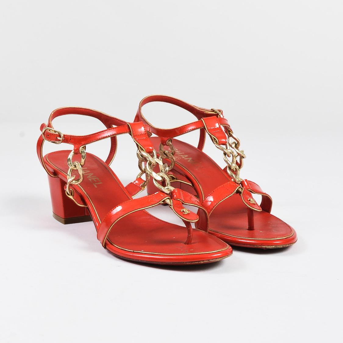 fbd4d74e6 Lyst - Chanel Red Patent Leather Chain Link Strappy Block Heel ...
