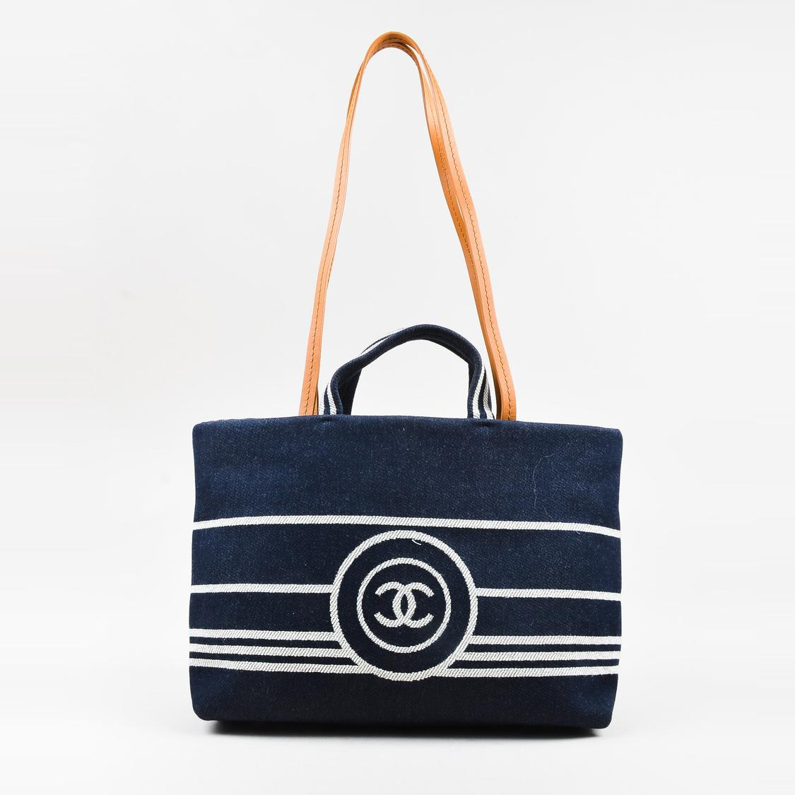 324d9bfd3f15 Chanel $2000 Blue White Denim Tan Leather Striped Tote Bag in Blue ...
