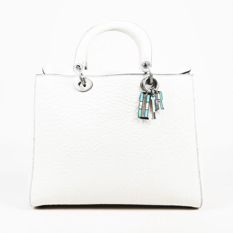 Dior White Grained Lambskin Large