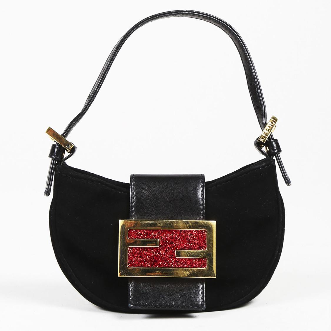 4b11e752746a Fendi Black Suede   Leather Glittered Zucca Mini