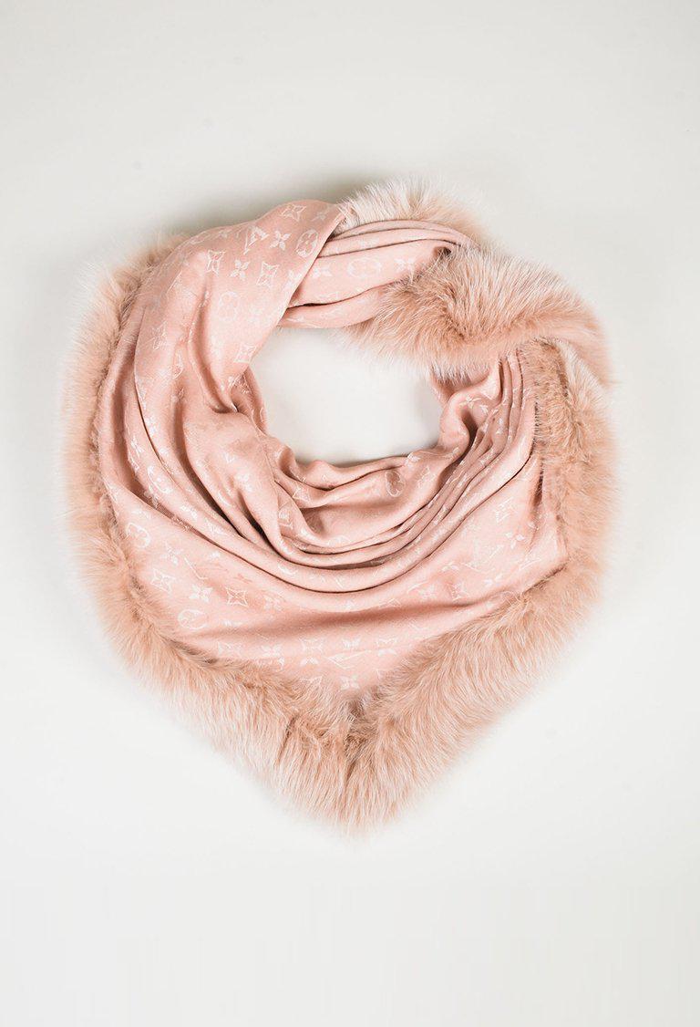 a38a82acd436 Lyst - Louis Vuitton 2016 Pink Silk Wool   Fox Fur Monogram V Shawl ...
