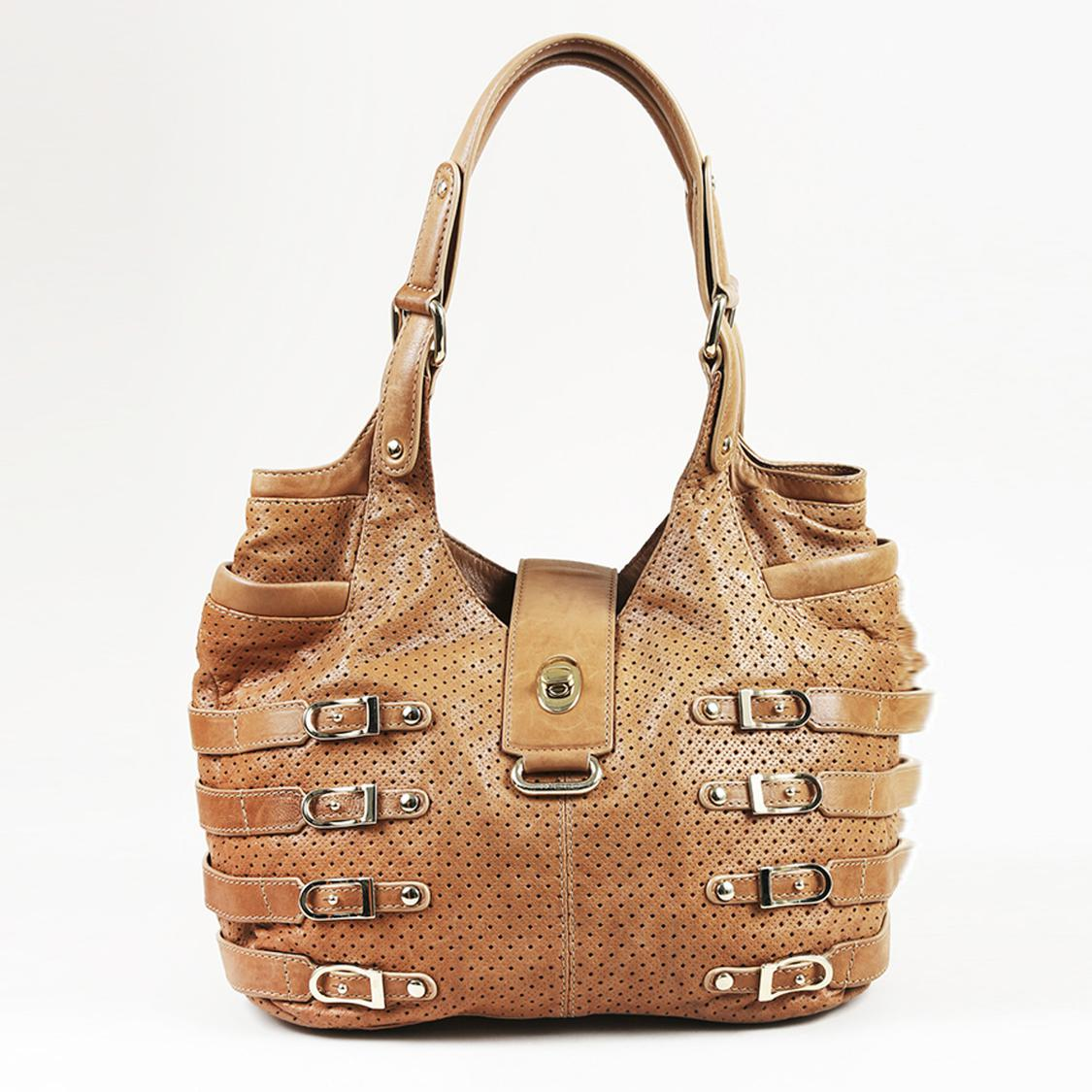 85e81738c4 Lyst - Jimmy Choo Brown Leather Perforated   Buckled Shoulder Bag in ...