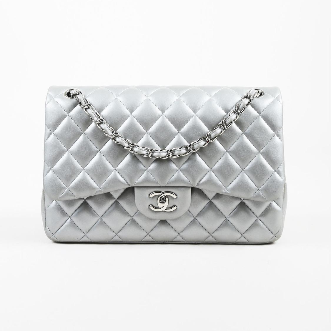 e9f088e8cfb9 Chanel Metallic Silver Lambskin Quilted Jumbo Classic Double Flap ...