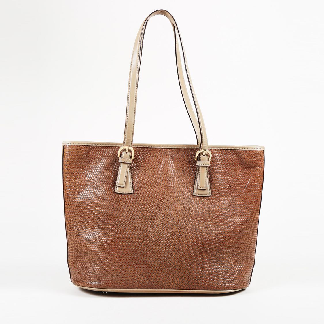 6533b5ae665b Lyst - Ferragamo Brown Embossed Leather Shoulder Bag in Brown
