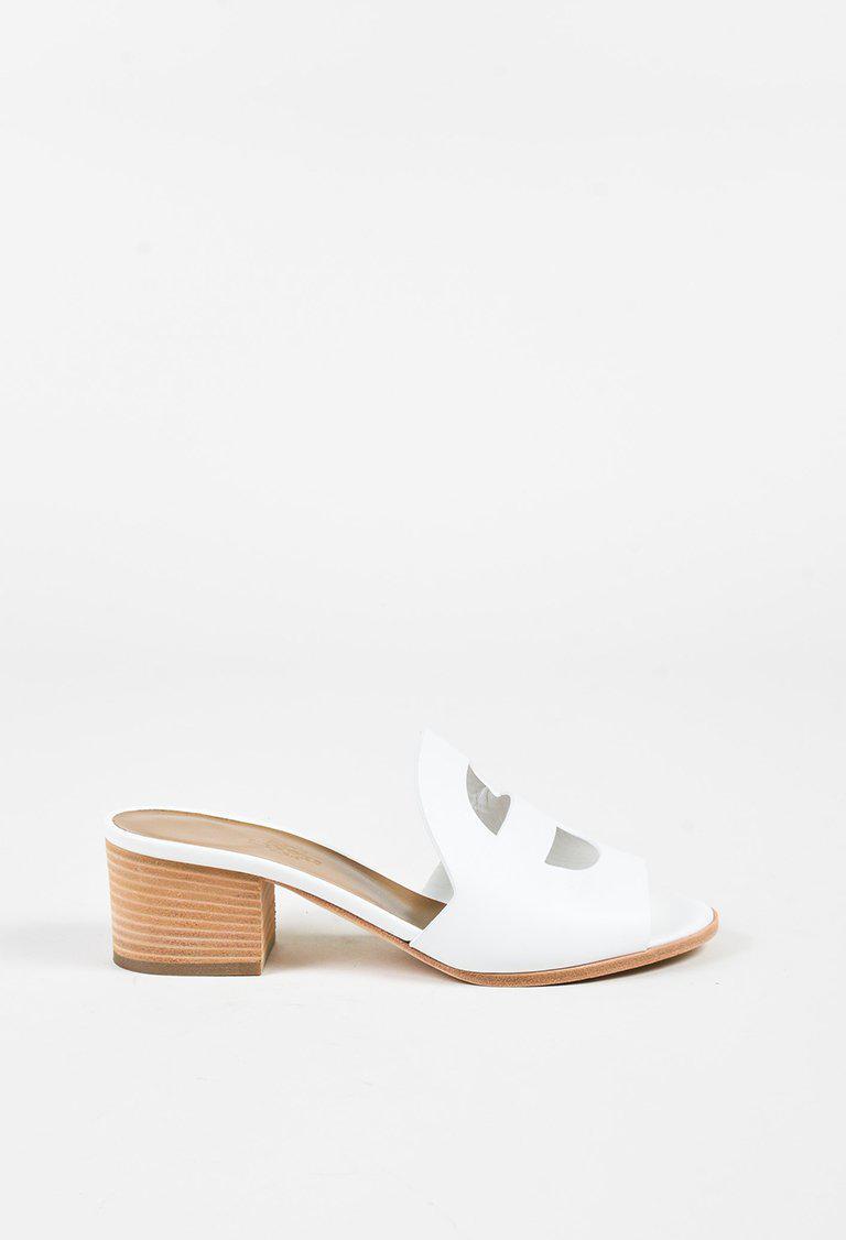 3f4dd46a95de Lyst - Hermès White Calfskin Cutout