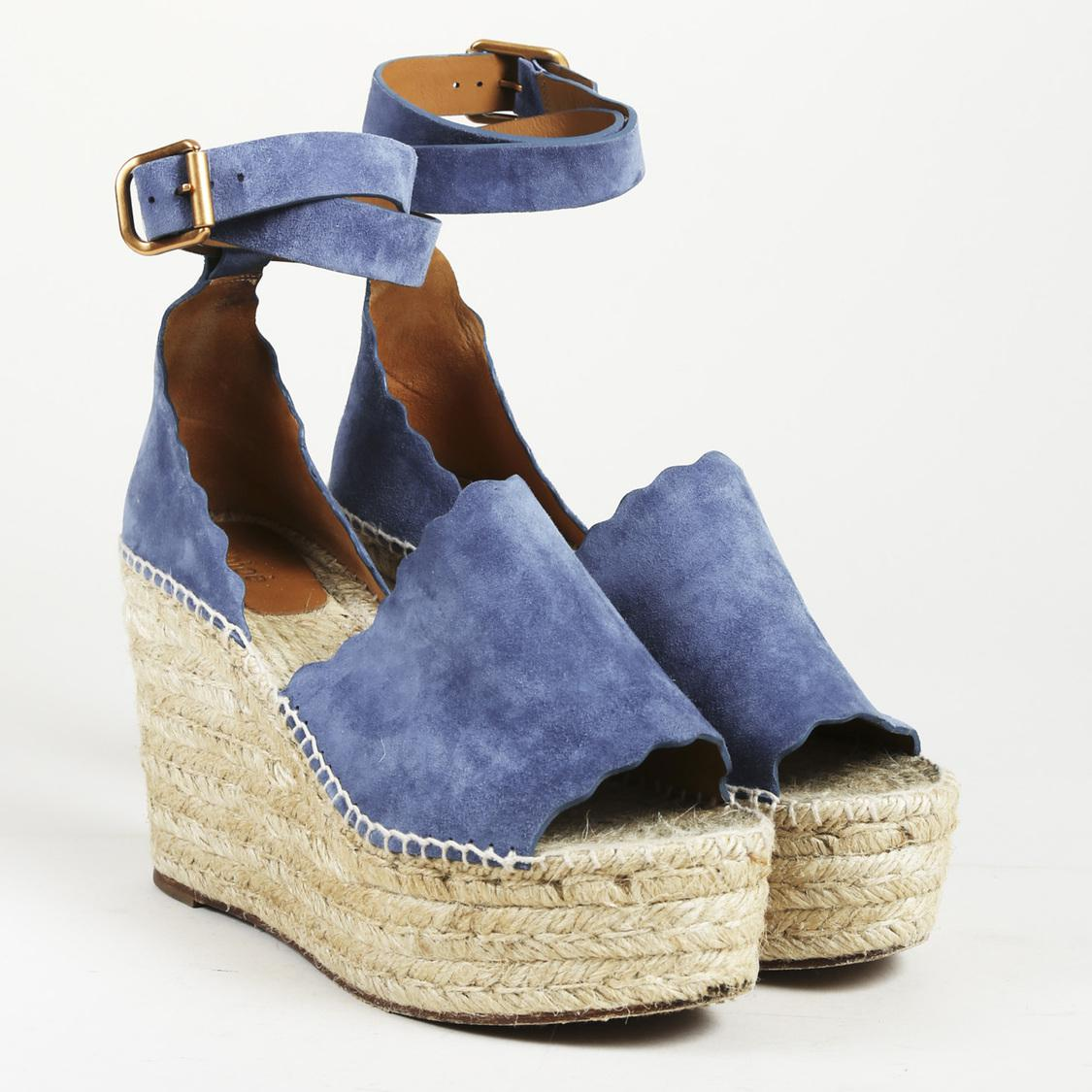Lyst - Chloé Suede Espadrille Wedge Sandals in Blue