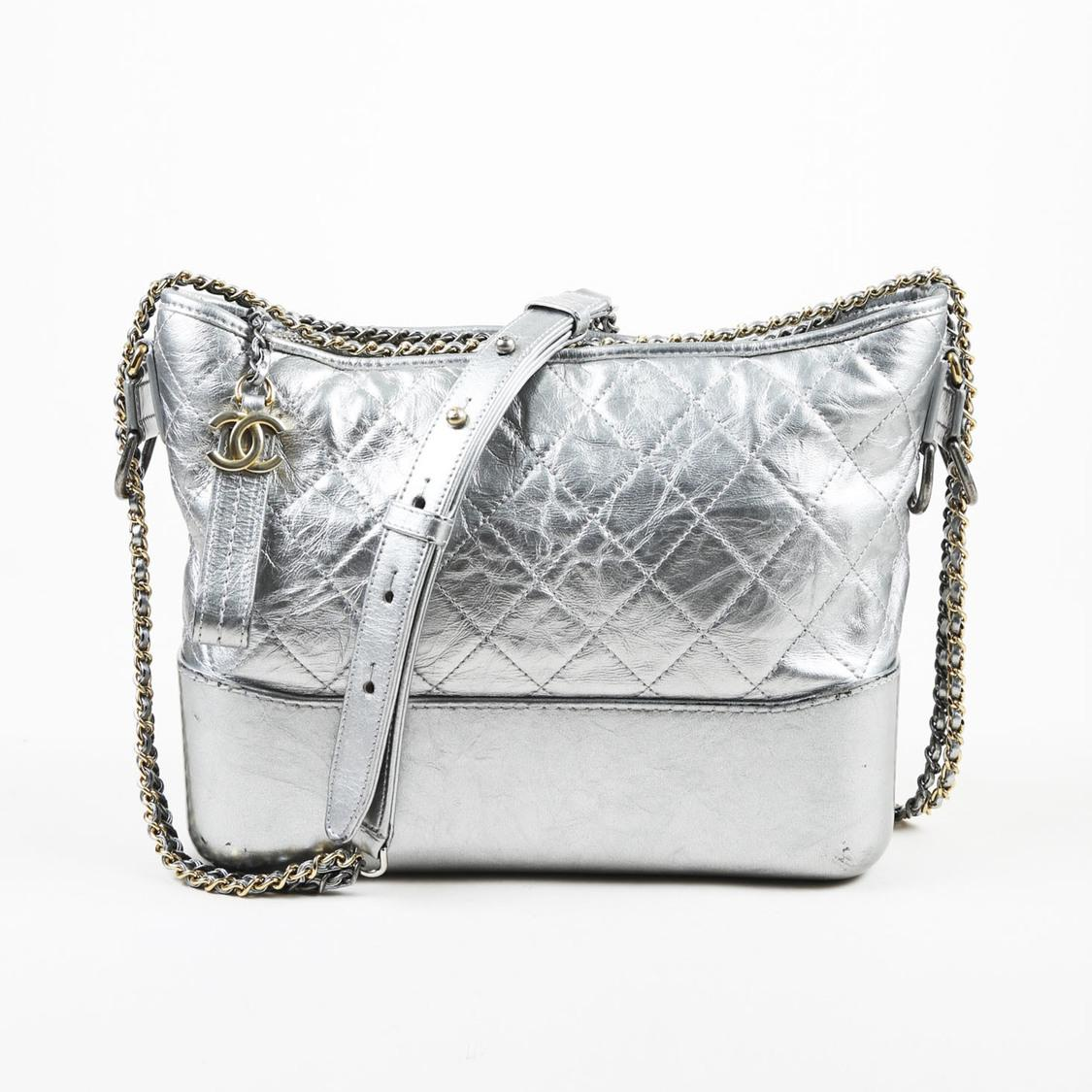 ea62a3c646a Lyst - Chanel Metallic Silver Lambskin Medium