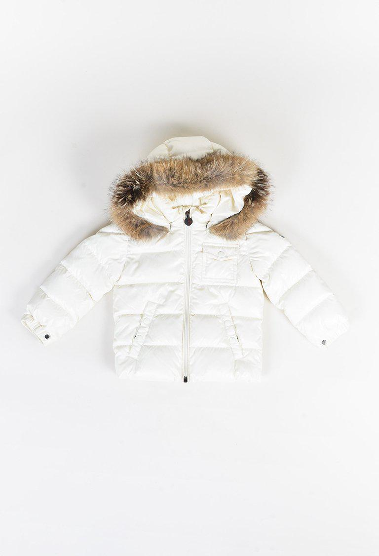 73969fa35b2c Moncler Kids White   Brown Nylon Down   Fox Fur