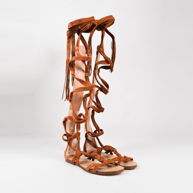 ac01cd6c23cf Sigerson Morrison. Women s Brown Suede Fringe Tassel Tall Gladiator Sandals