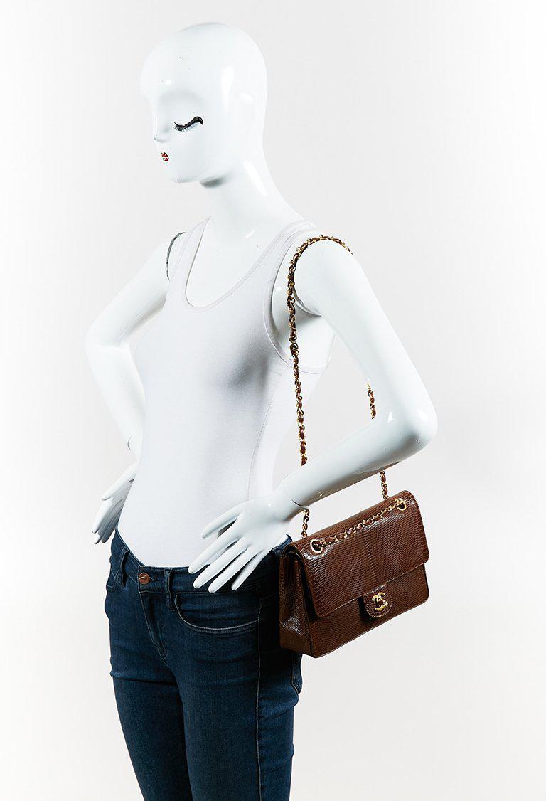 0ddc2f1b5ddd Chanel Vintage Brown Lizard Skin Medium Classic Double Flap Bag in ...