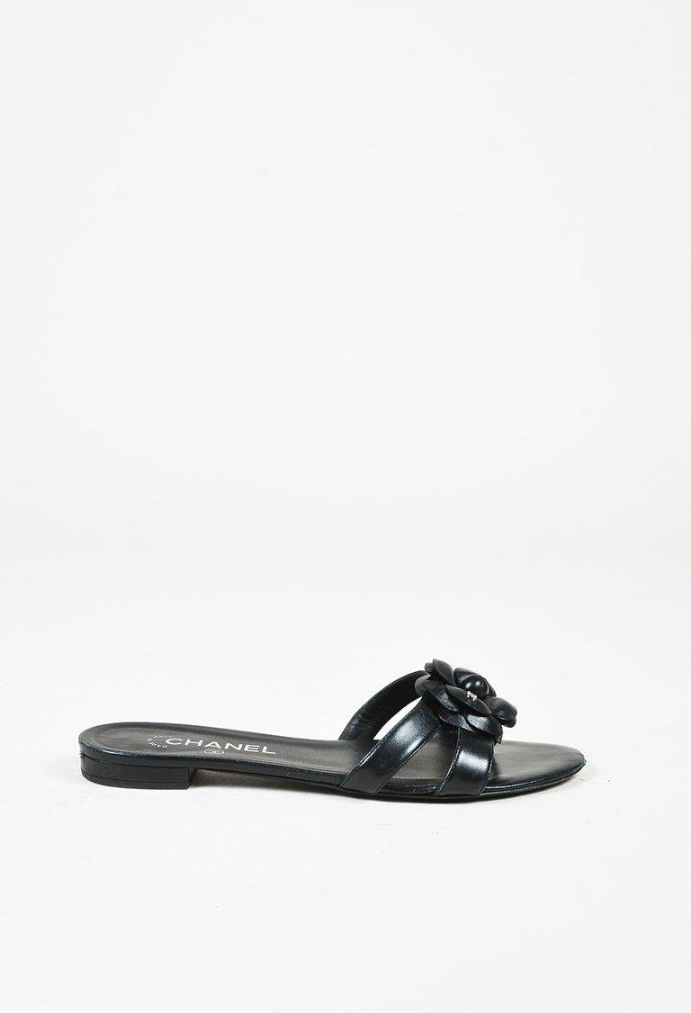 092e49d9e1a Chanel Spring 2016 Black Lambskin Leather Camellia Flower Sandals in ...