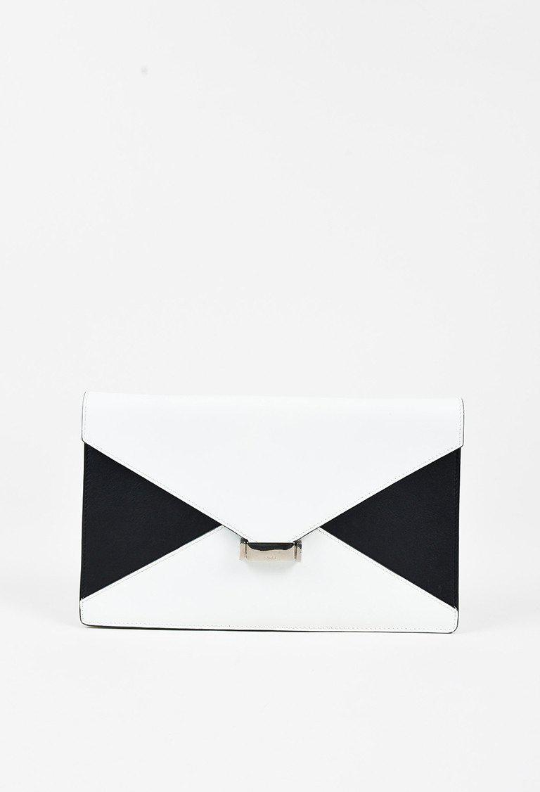 9e4d505901ee Lyst Céline White Black Leather Colorblock Diamond Envelope. Striped Clutch  Black And White Envelope Bag ...