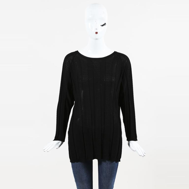 66737e32ff0c9 Lyst - Missoni M Black Patterned Knit Long Sleeve Pullover Sweater ...