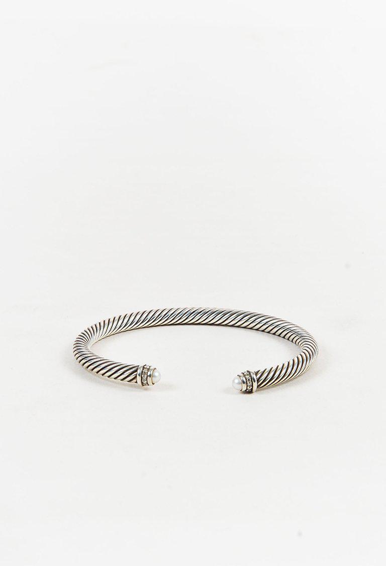 Lyst David Yurman Sterling Silver Diamonds Pearls Cable Classic