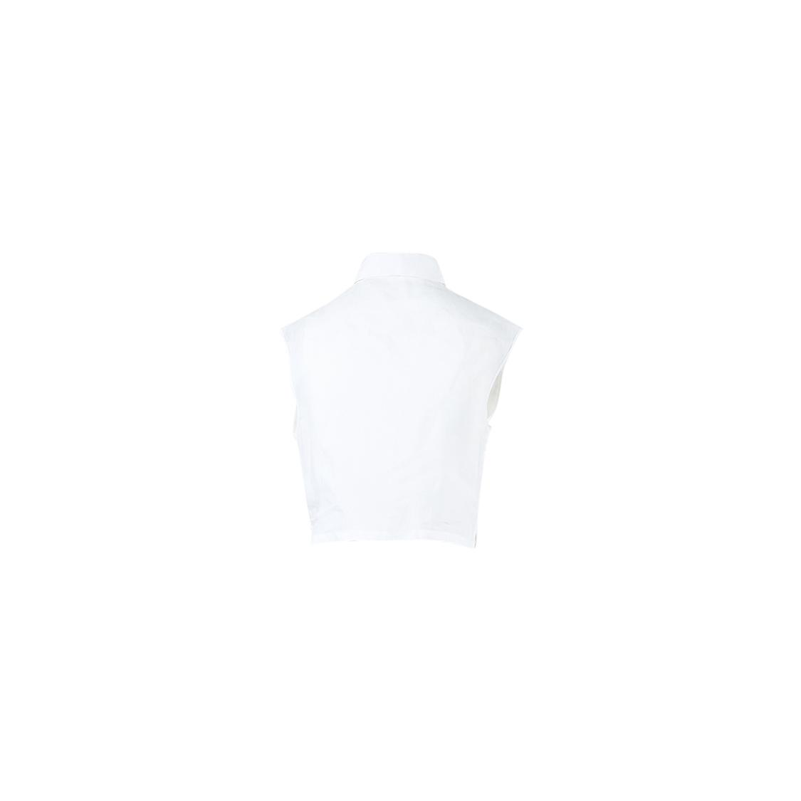 1dd8ec7c7f7 Lyst - Chanel White Sleeveless Buttoned & Pleated Cropped Top in White