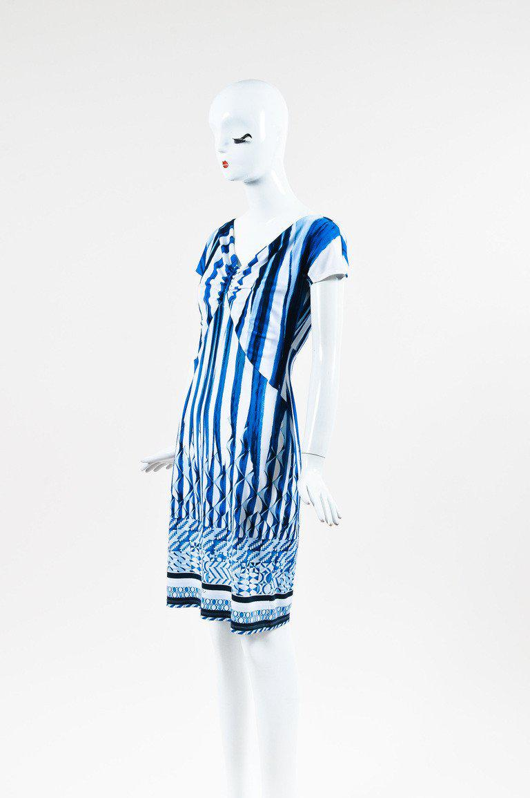 37d592133fe16 Lyst - Roberto Cavalli Multi Blue & White Jersey Knit Printed Short ...