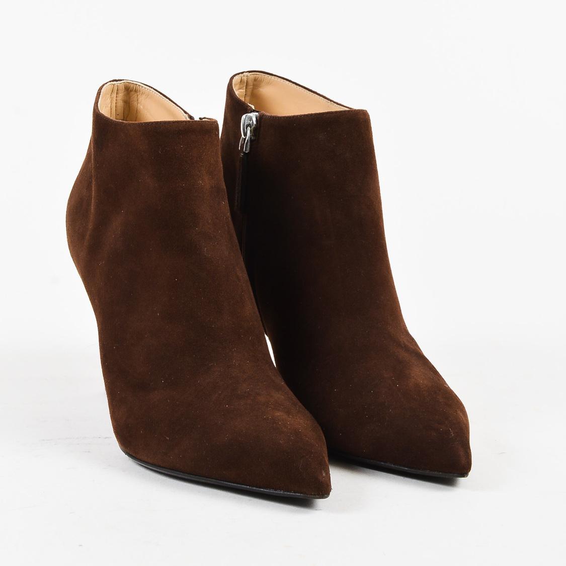 d4ed03901e4 Ralph Lauren Brown Suede Pointy Toe Heel Heel Ankle Boots in Brown ...