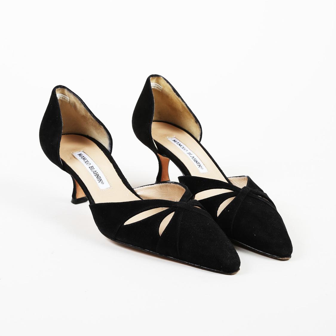 8a756526087 Lyst - Manolo Blahnik Black Suede Kitten Heel Pointed D orsay Pumps ...