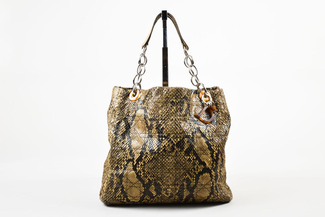 c42aab7960b0 Dior. Women s Natural Limited Edition 001 Beige Python Cannage Stitch Tote  Bag