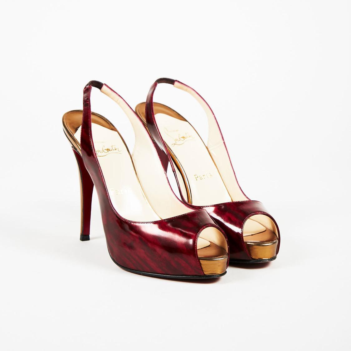3b6e9ae4b5c Christian Louboutin. Women s Red Slingback Patent Leather Platform Pumps