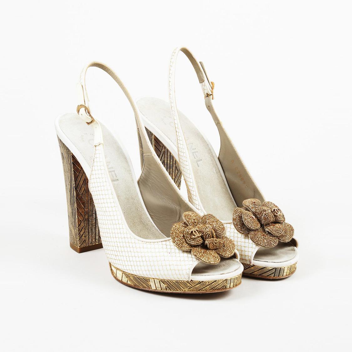 84e1f53f8430 Chanel. Women s Metallic Gold Cream Leather