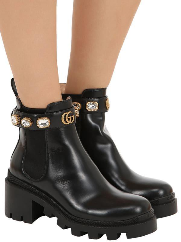e8fafdad9 Gucci Leather Ankle Boot With Belt in Black - Lyst