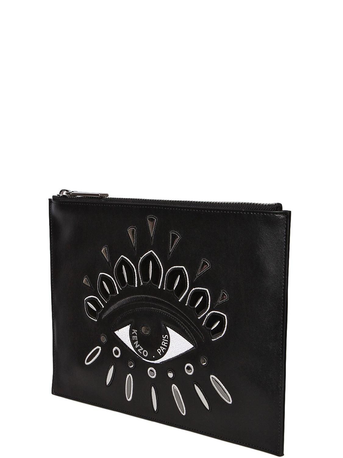 cd4480151f3 KENZO Eye Embroidered Leather Pouch in Black - Lyst